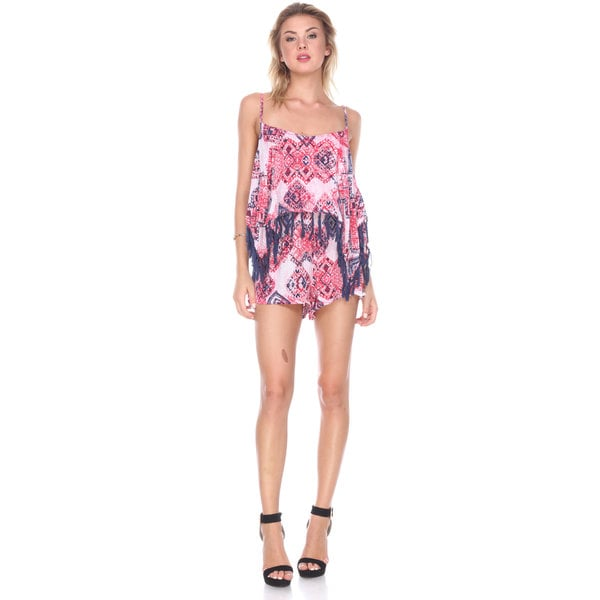 Stanzino Women's Printed Romper with Tassels