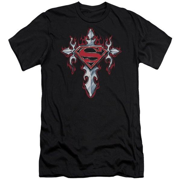Superman/Gothic Steel Logo Short Sleeve Adult T-Shirt 30/1 in Black