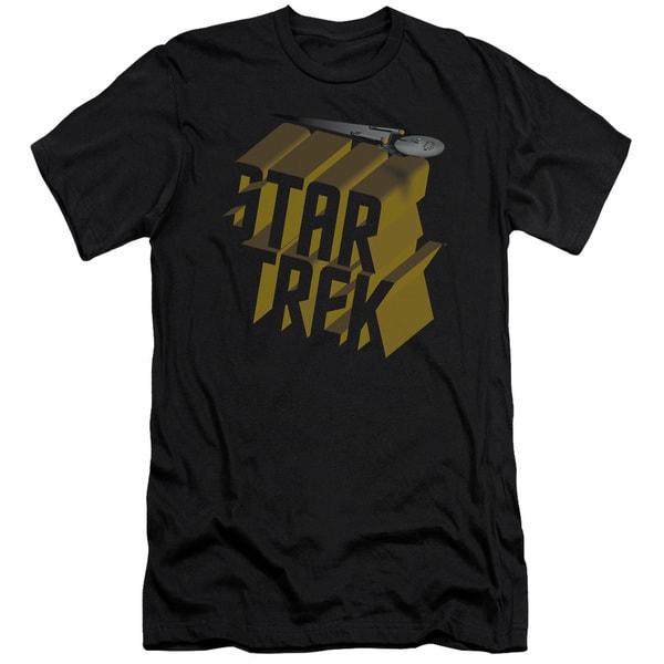 Star Trek/3D Logo Short Sleeve Adult T-Shirt 30/1 in Black