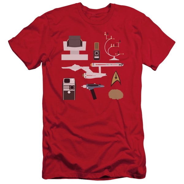 Star Trek/Tos Gift Set Short Sleeve Adult T-Shirt 30/1 in Red