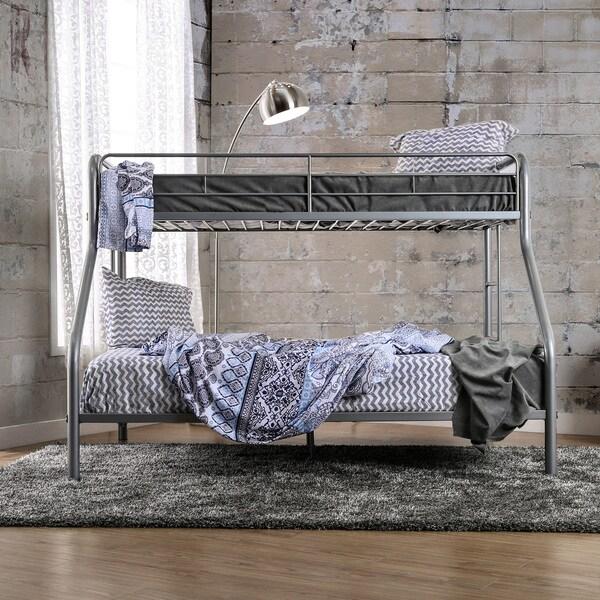 Furniture of America Linden Contemporary Twin XL over Queen Heavy Gauge Metal Bunk Bed