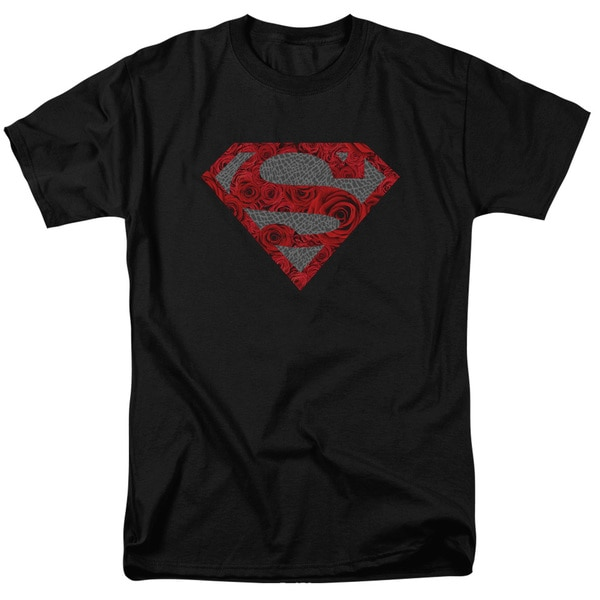 Superman/Elephant Rose Shield Short Sleeve Adult T-Shirt 18/1 in Black