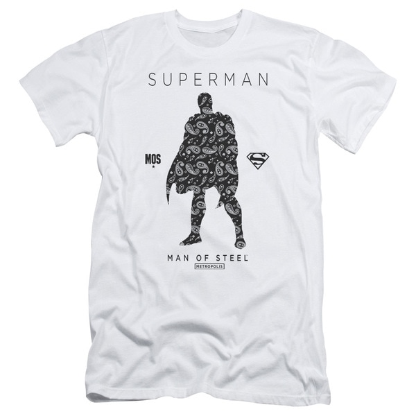 Superman/Paisley Sihouette Short Sleeve Adult T-Shirt 30/1 in White