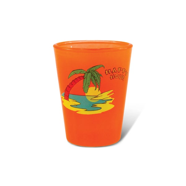 Puzzled Orange Neon Palm Tree Shot Glass
