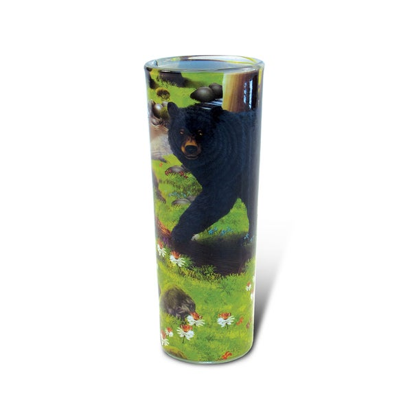 Puzzled Full Shooter Black Bear Shot Glass