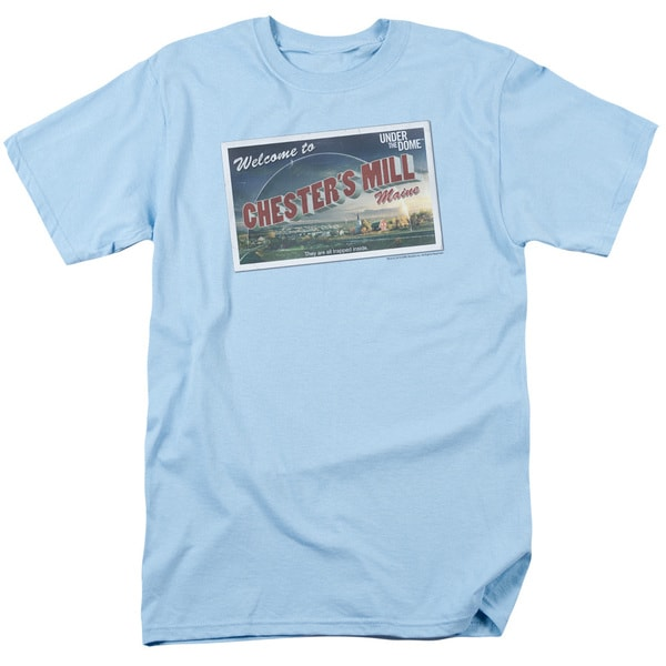 Under The Dome/Postcard Short Sleeve Adult T-Shirt 18/1 in Light Blue
