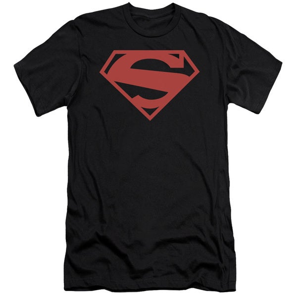 Superman/52 Red Block Short Sleeve Adult T-Shirt 30/1 in Black