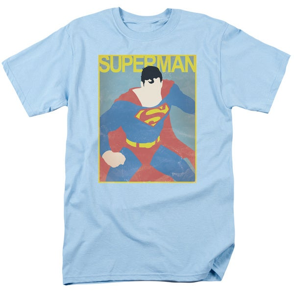 Superman/Simple Sm Poster Short Sleeve Adult T-Shirt 18/1 in Light Blue