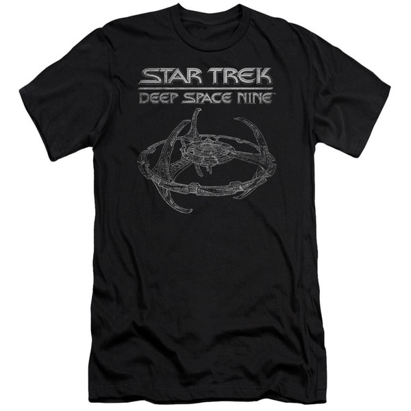 Star Trek/Ds9 Station Short Sleeve Adult T-Shirt 30/1 in Black