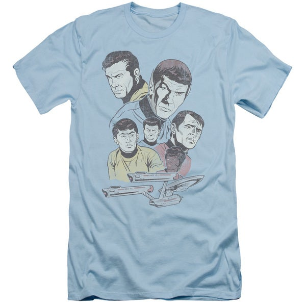 Star Trek/Retro Crew Short Sleeve Adult T-Shirt 30/1 in Light Blue