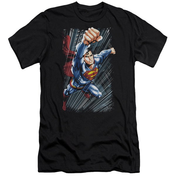 Superman/Faster Than Short Sleeve Adult T-Shirt 30/1 in Black