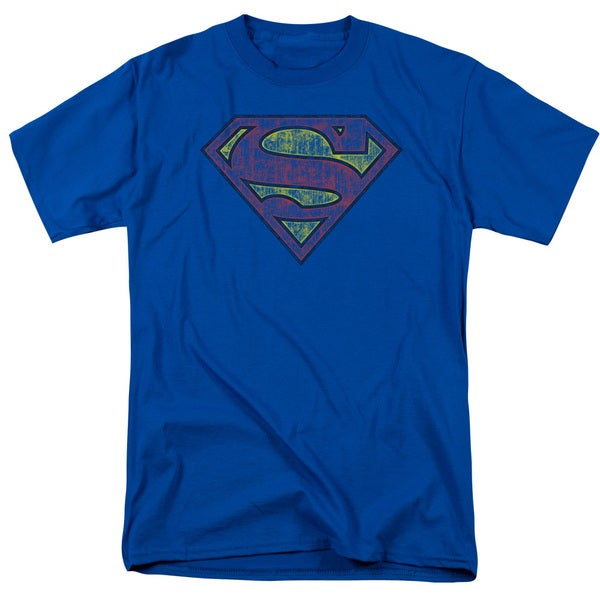 Superman/Tattered Shield Short Sleeve Adult T-Shirt 18/1 in Royal Blue