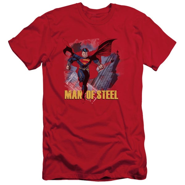 Man Of Steel/Fly By Short Sleeve Adult T-Shirt 30/1 in Red
