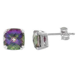 H Star Sterling Silver Mystic Fire Topaz Cushion-cut Stud Earrings