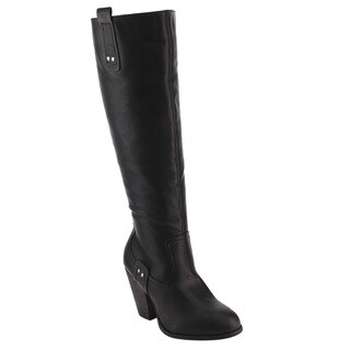 De Blossom Collection Women's GE12 Black Faux Leather Chunky Heel Knee-high Riding Boots