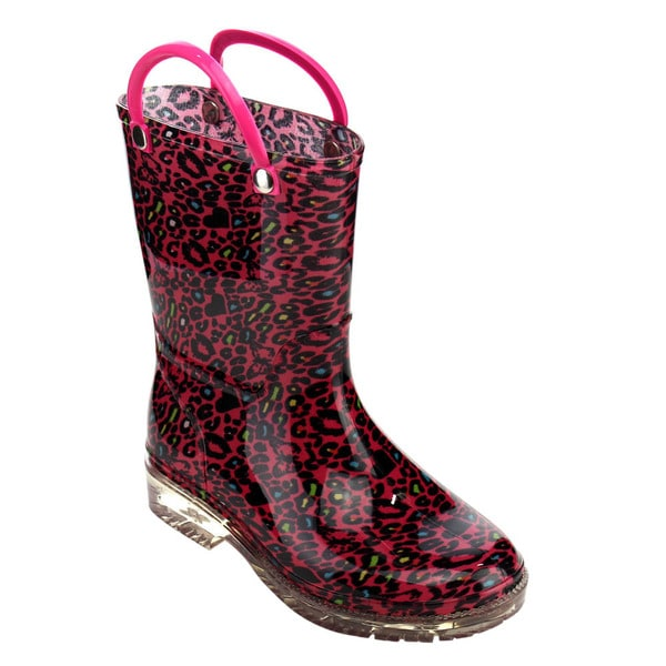Jelly Beans Toddler Girls' Red PVC Pull-on Mid-calf Rain Boots