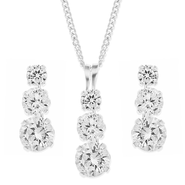 Trilogy Rhodium-plated Sterling Silver Cubic Zirconia Earring and Pendant Set on 18-inch Curb Chain