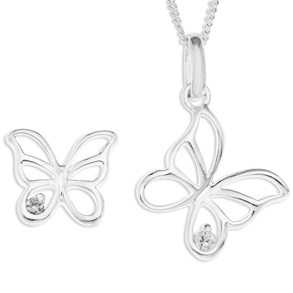 Sterling Silver Cubic Zirconia 18-inch Curb Chain Butterfly Pendant and Earring Set