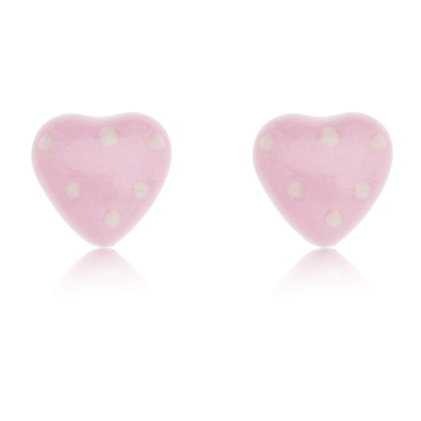 Pink Sterling Silver Enamel Heart Stud Earrings