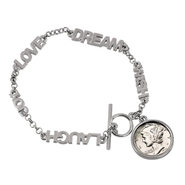American Coin Treasures 'Year to Remember' Inspirational Dream Wish Love Laugh Joy Coin Bracelet