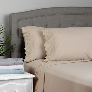 Journee Home 'Lacey' Microfiber Embroidered 4 pc Sheet Set