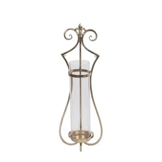 Privilege International Gold Iron/Clear Glass Wall Hurricane Sconce
