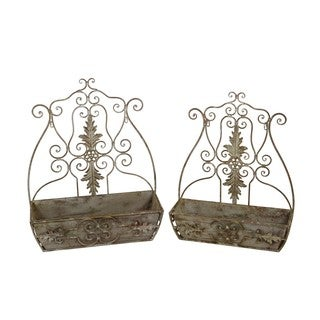 Privilege Moss Grey Iron 2-piece Antique-style Wall Containers