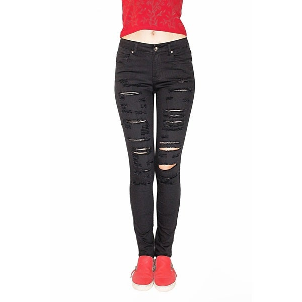 Juniors' Black Denim Spandex Ripped Skinny Jeans