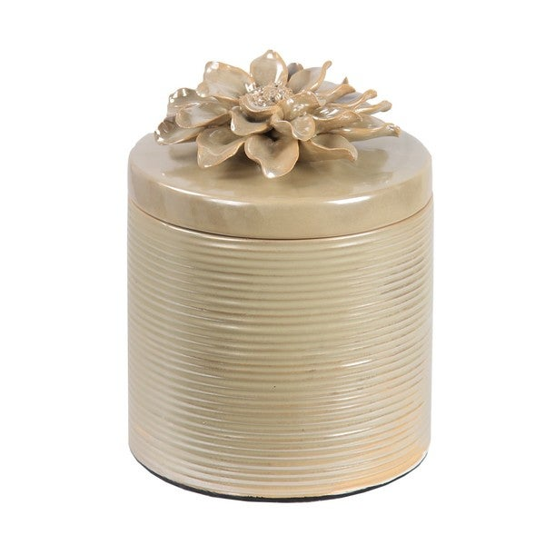Privilege Off-white Large Ceramic Jar With Flower Lid