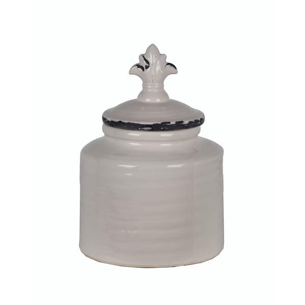 Privilege Medium White/Black Ceramic Fluer Di Lis Jar