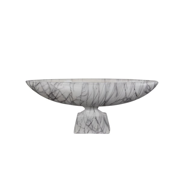 Privilege Grey/White Marble 23.5-inch Bowl