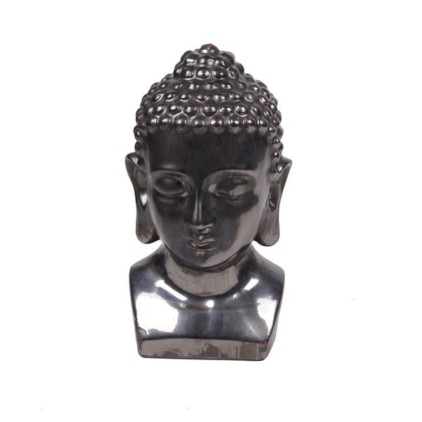 Privilege Metallic Silver Ceramic Buddha Head