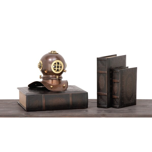 Urban Designs Tabletop Nautical Jones Bronze-finished Brass Diving Helmet