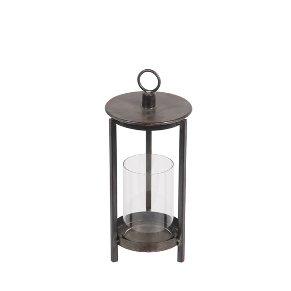 Privilege Brown Metal and Glass Medium-size Candle Lantern