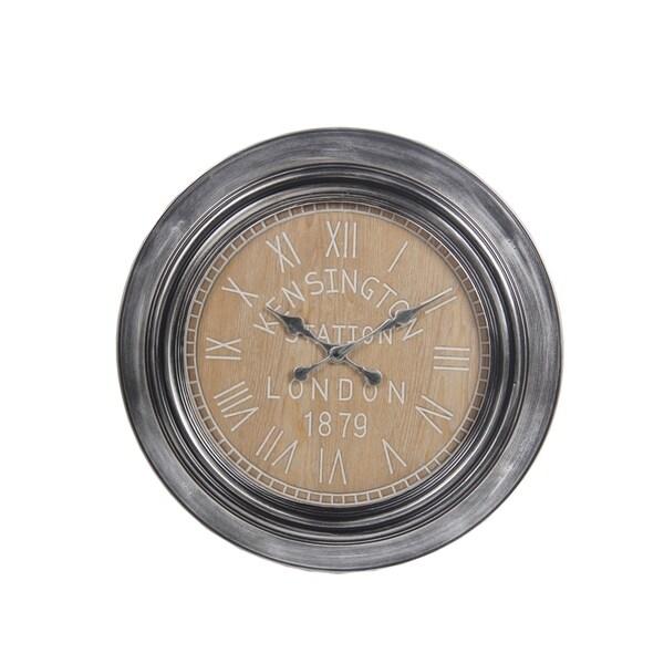 Privilege Grey Metal Clock with Wood Facing