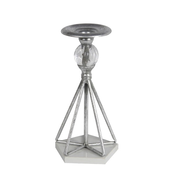 Privilege International Silver Metal L Candle Holder with Stone Base