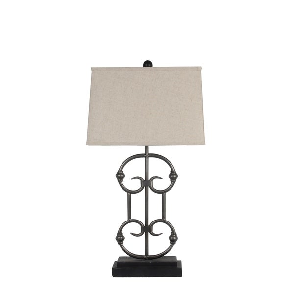 Privilege International Black Iron Table Lamp with Beige Bell-shaped Shade
