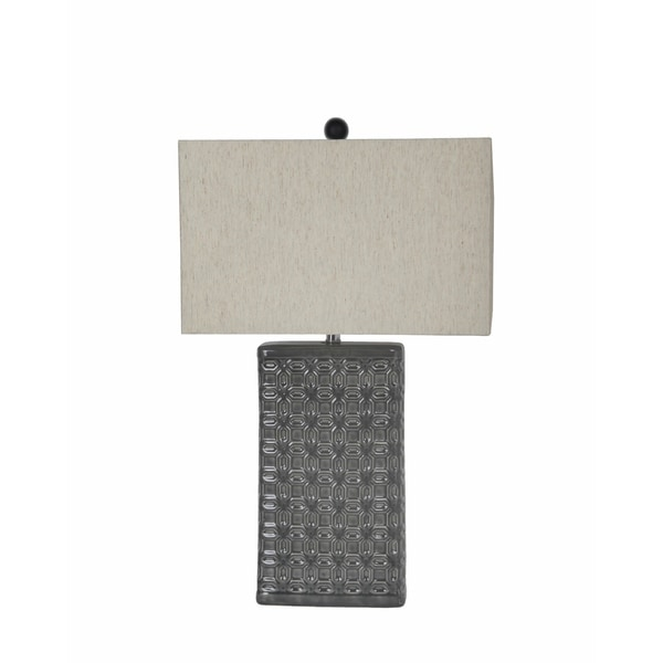 Privilege Bevelled Geometric Beige Ceramic Table Lamp
