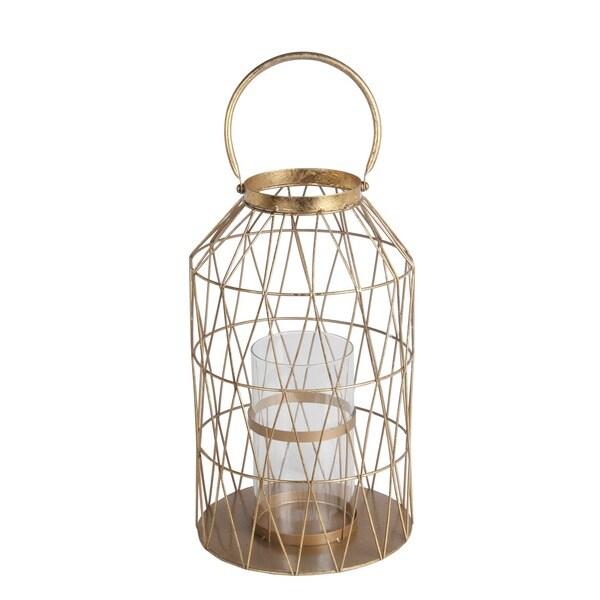 Privilege International Gold Leaf Metal/Glass Large Lantern 20267774