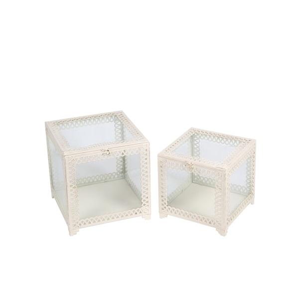 Privilege White Metal/Glass 2-piece Sqaure Boxes