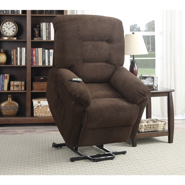 Chocolate Textured Chenille Power Lift Recliner