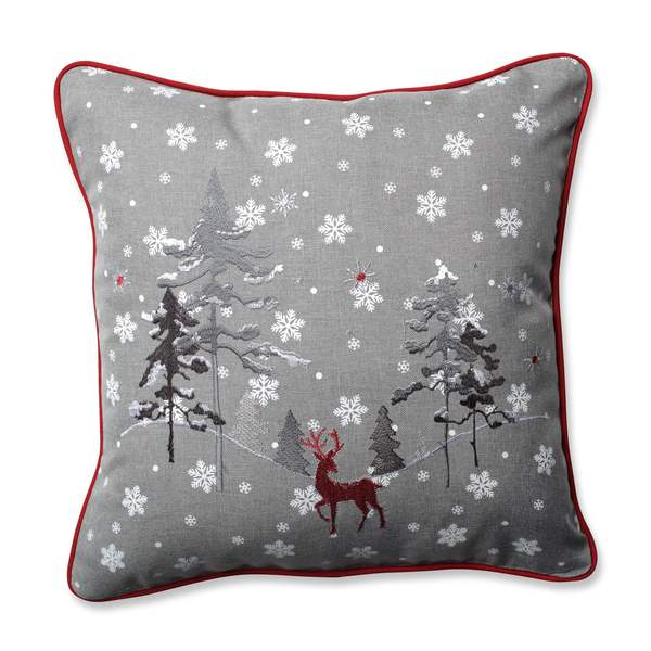 Pillow Perfect Red The Reindeer Grey 16.5-inch Throw Pillow