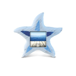 Nautical Decor Light Blue Stripes Starfish Frame