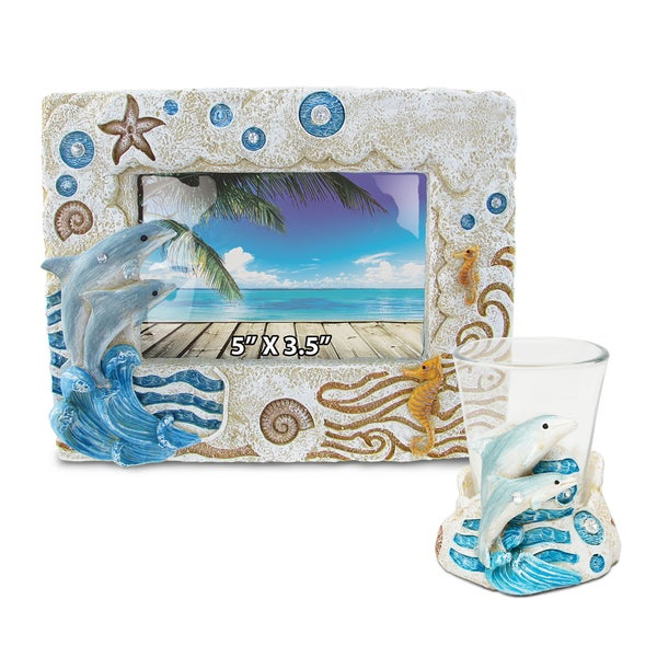 Dolphin Resin Stone Finish Collection including Picture/Photo Frame and Shot Glass Unique Elegant Gift and Souvenir 20268267