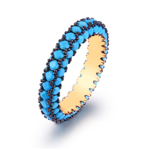 18K Gold Plated & Genuine Turquoise Encrusted Ring