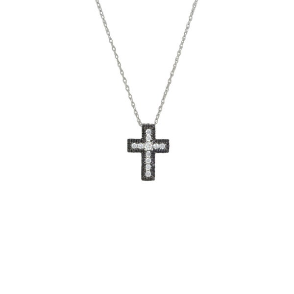 14k White Gold 1/3ct TDW Black and White Diamond Cross Pendant Necklace