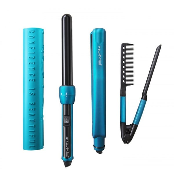 NuMe Power Couple 25-millimeters Curling Wand, Flat Iron, and Hair Styling Comb Set