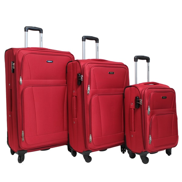 Dejuno Escape 3-piece Softside Lightweight Spinner Upright Luggage Se