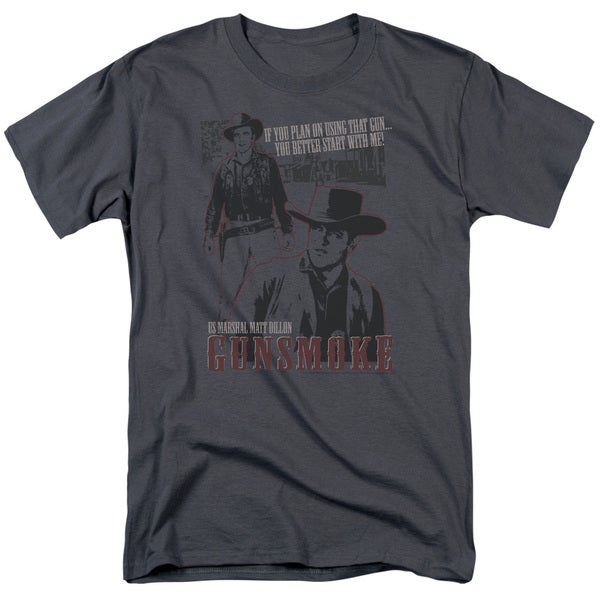 Gunsmoke/Us Marshall Matt Dillon Short Sleeve Adult T-Shirt 18/1 in Charcoal