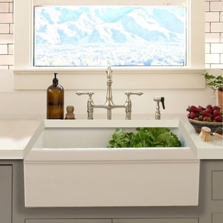 Highpoint Collection Decorative Farmhouse Fireclay Sink and Brushed Stainless Drain
